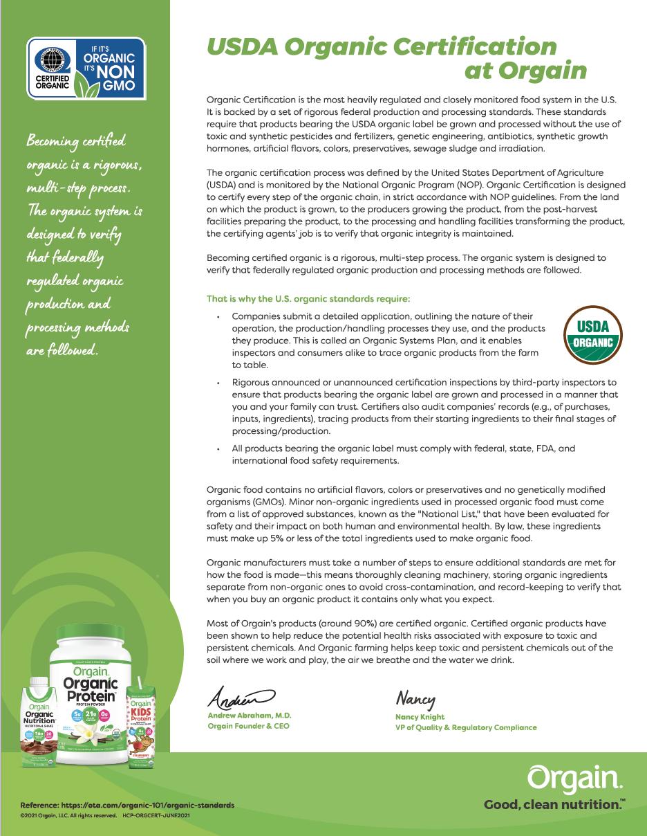 Organic Certification at Orgain